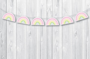 SUNSHINE AND RAINBOWS Printable Rainbow Banner, Digital Download