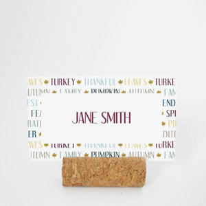 THANKSGIVING Printable Flat Name or Food Card, Digital Download, Editable, Words