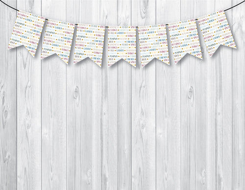 THANKSGIVING Printable Notched Banner, Digital Download, Leaves