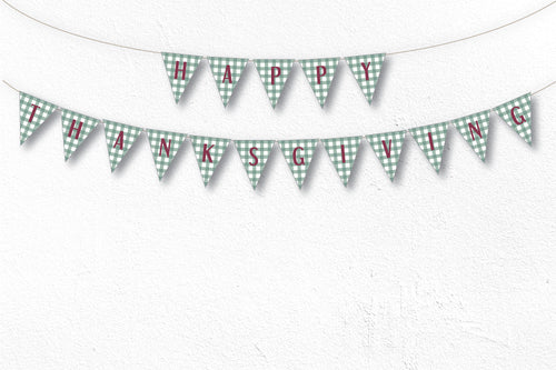 THANKSGIVING Printable Triangle Banner, Digital Download, Gingham