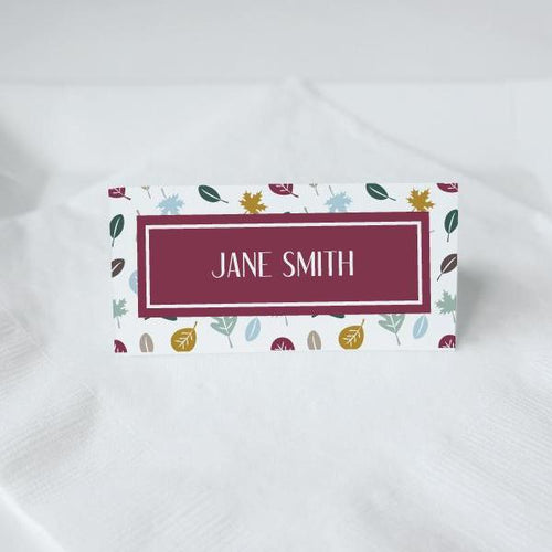 THANKSGIVING Printable Tented Name Card, Digital Download, Editable, Colour Leaves
