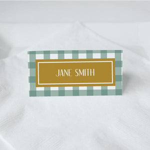 THANKSGIVING Printable Tented Name Card, Digital Download, Editable, Gingham
