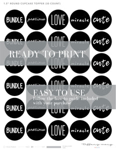 WORDS BABY Theme Printable Party Pack, Party Decorations Kit