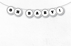 WORDS Printable Round Banner, Digital Download, White