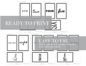 WORDS Printable 4x6 Table Numbers, 1 to 15 Tables, Digital Download