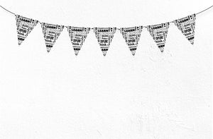 BACK-TO-SCHOOL WORDS Printable Triangle Banner, Digital Download