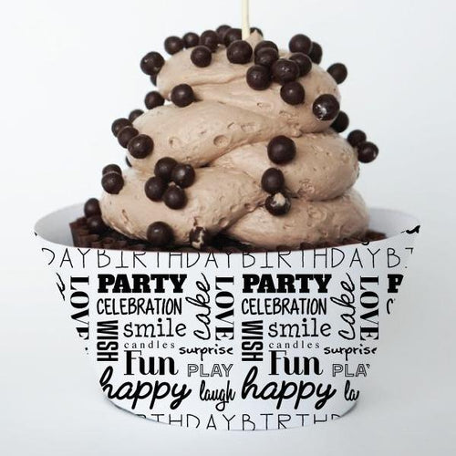 WORDS Printable Cupcake Wrapper, Digital Download, Birthday