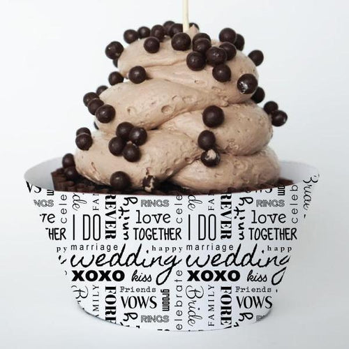WORDS Printable Cupcake Wrapper, Digital Download, Wedding