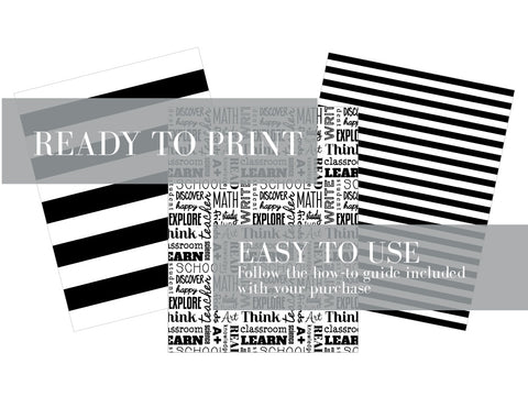 BACK-TO-SCHOOL WORDS Printable Full Sheet Pattern Paper, Digital Download, 3Pk