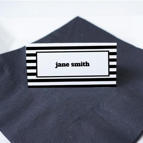 WORDS Printable Tented Name Card, Digital Download, Editable, Narrow Stripes