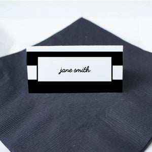 WORDS Printable Tented Name Card, Digital Download, Editable, Wide Stripes