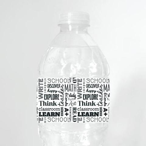 BACK-TO-SCHOOL WORDS Printable Water Bottle Label, Digital Download, Back-To-School