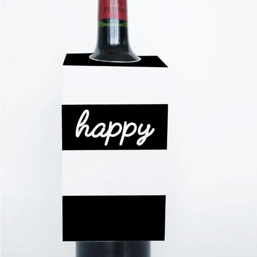 WORDS Printable Wine Tags, Digital Download, Happy