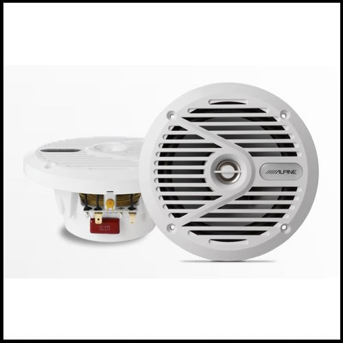 "ALPINE SPS-M601W  6.5"" Coaxial 2-Way Marine Speaker with White Grilles Audio Design"