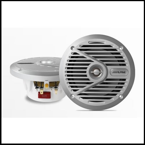 "ALPINE SPS-M601  6.5"" Coaxial 2-Way Marine Speaker with Silver Grilles Audio Design"