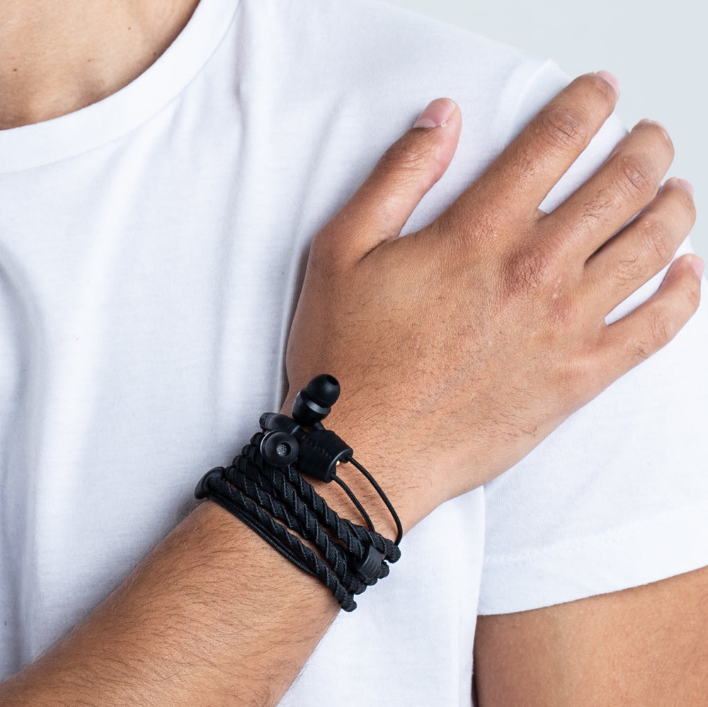 Wraps Classic Black - Anti Tangle Headphone Wrist