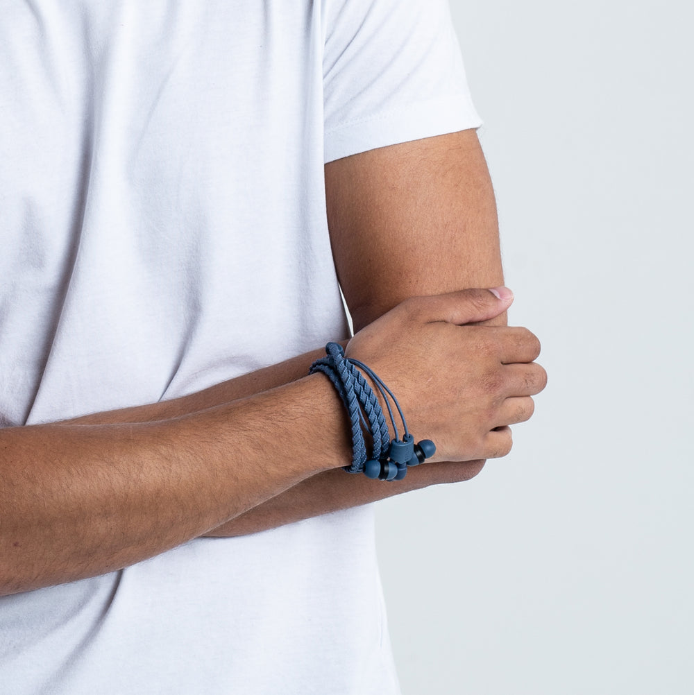 Wraps Talk Denim - Anti Tangle Headphone Wrist