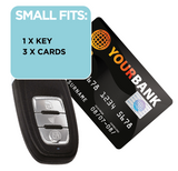1 key and 2 cards fit inside the Wraps Anti-Theft Key fob wallet