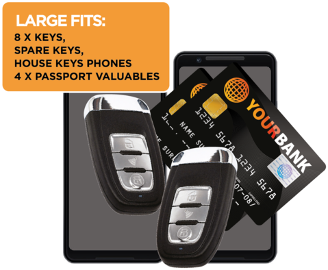 8 keys, spar keys, house keys, phones and 4 passports fit inside the Wraps Anti-Theft Key fob wallet