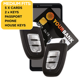 5 cards, 2 keys, passport, phone and house keys fit inside the Wraps Anti-Theft Key fob wallet