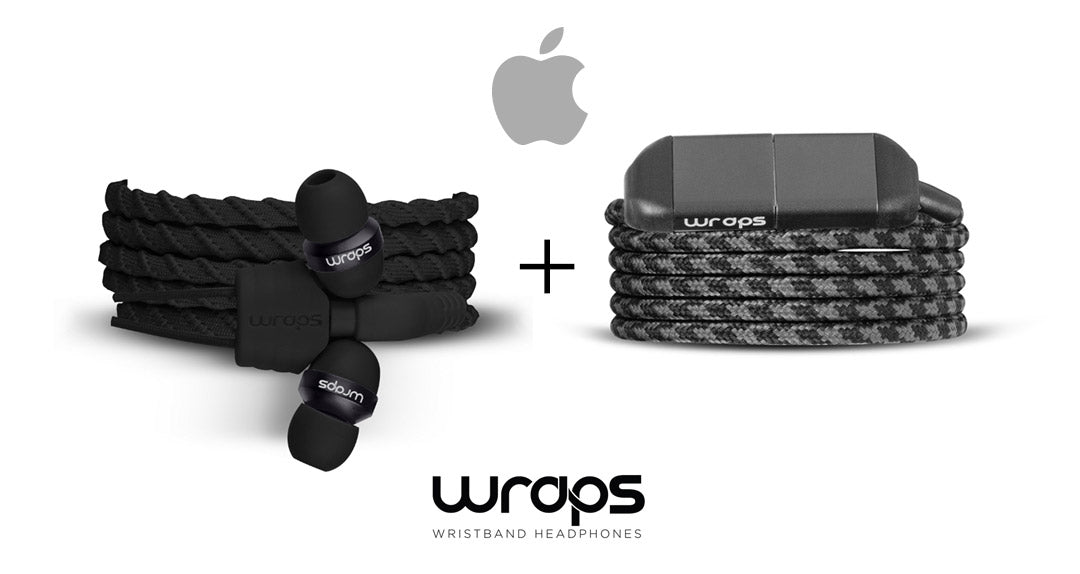 WRAPS Classic In-ear Headphone & Lightning Charger Cable Bundle