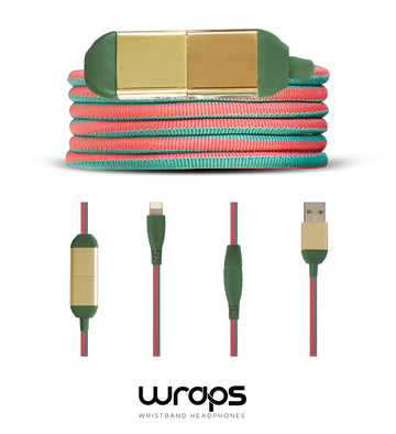 wraps excluisve lightning charge cable - green and red