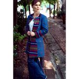 Woman's Designer Long Coat (blue)