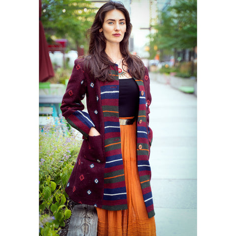 Woman's Designer Yathra Long Coat( deep red)