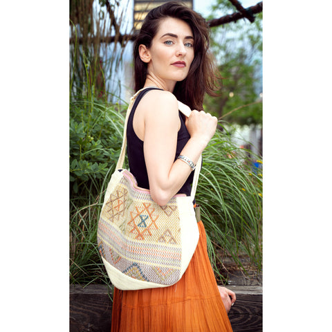 Yellow Silk Silk  Shoulder Bag with Bhutanese Pattern