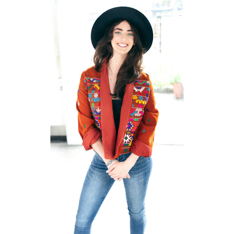 Unisex Cotton Embroidered Jacket ( brown )