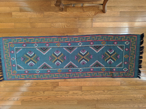 Turquoise Runner Handwoven in Bhutan from sheep wool (46X20)