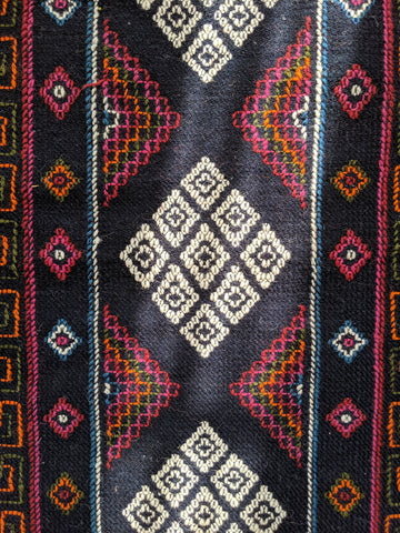 Dark Blue Runner Handwoven in Bhutan ( 46x20)