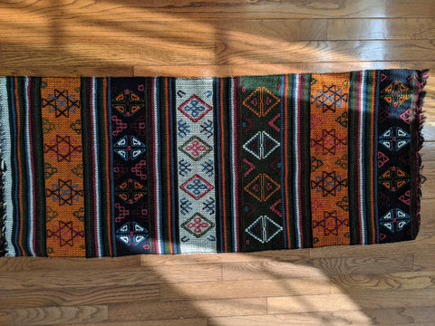 Green, Blue & Orange Runner Handwoven in Bhutan (46X20)