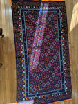Blue Rug with Orange Border Handmade in Bhutan (73X38)
