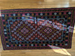 Blue Rug with Black Border Handwoven in Bhutan (74X46)