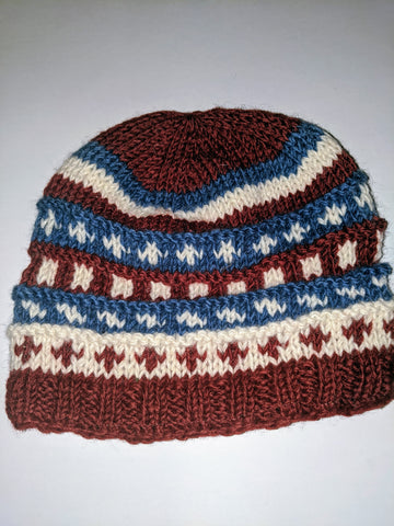 Wool Hat Brown, Blue & White