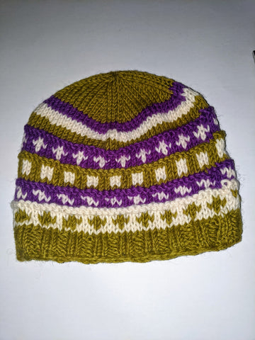 Wool Hat Purple & Green