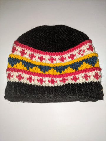 Wool Hat - Black, Red, White & Yellow