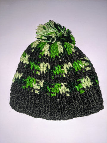 Wool Hat- Green, Cream & Black