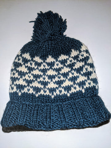 Wool Hat - Steel Blue and White