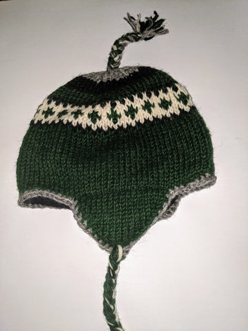 Wool Hat with Ear flaps Green & WHITE