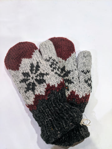 Wool Mittens Lined Various Colors and Two with Fingertips exposed