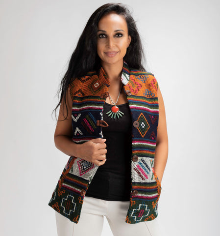 Women's Vest ( Orange, Green, White & Blue)