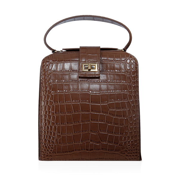 JEMMA IN CHOCOLATE CROC-EMBOSSED LEATHER