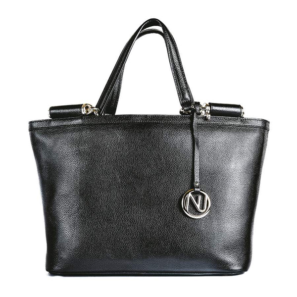 Aaliyah Tote Handbag in Black Pebble Leather
