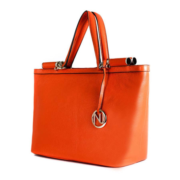 Aaliyah Tote Handbag in Orange Pebble Leather
