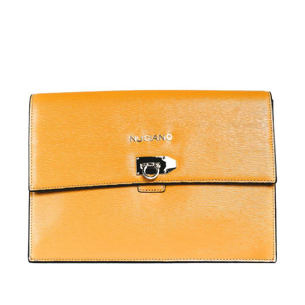 Adrienne Clutch Handbag in Mustard Ripple Grain Leather