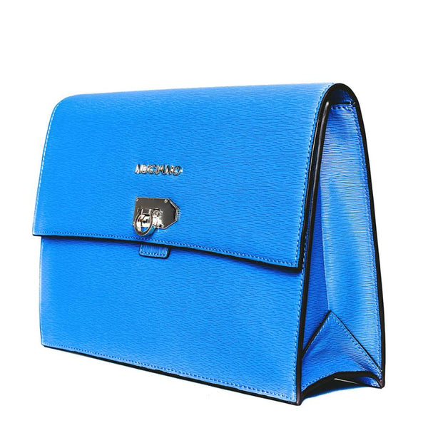 Adrienne Clutch Handbag in Blue Ripple Grain Leather