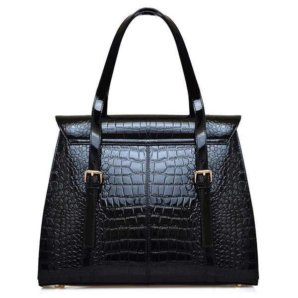 Harley-Jane in Croc Patterned Leather - Nuciano Handbags
