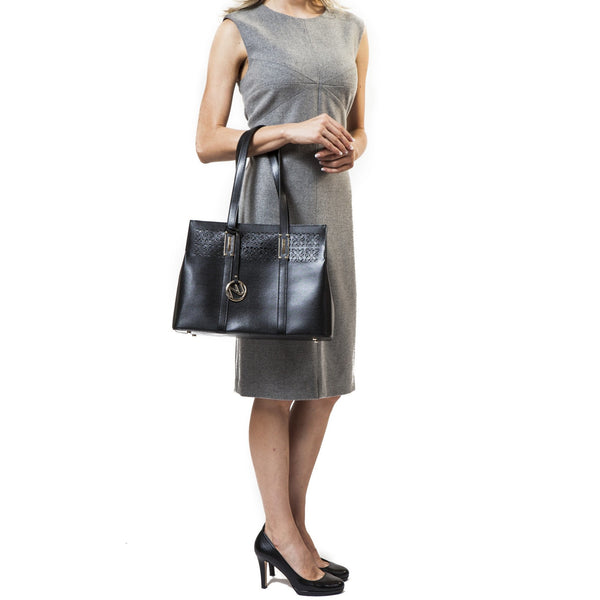 Zina Shoulder Bag in Tree Grain Leather - Nuciano Handbags